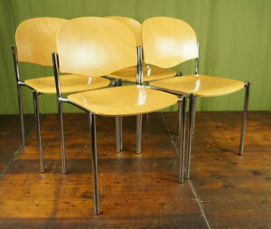 Stacking Chair Vintage 4x Danish Beech & Chrome Retro Dining Room 70er