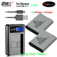 2XLI-90B Battery + Charger for Olympus SH-50 SH-60 TG-1 TG-3 XZ-2 SP100 SP-100EE