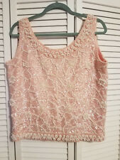 Stunning Pink Vintage Cardell Scoop Neck Fully Beaded/Sequined Top