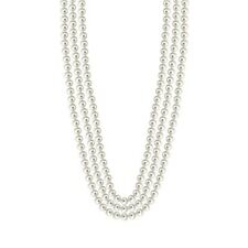 "90"" Long Pearl Strand Necklace / White Color"