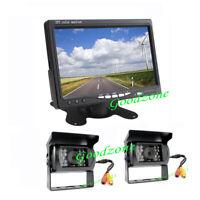 "7"" LCD Monitor Car Rear View Kit + 2x IR Reversing Camera for Bus Truck 12V-24V"