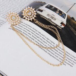 Fab Women Pearl daisy flower Gold chain Blouse Shirt Collar Neck Tips Brooch Pin