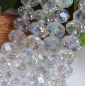 Faceted Jewelry Crafts Glass Crystal Beads AB White 4x6MM 298pcs