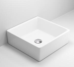 Bathroom Vanity Wash Basin Sink Countertop Square Curved White Modern 360x360mm