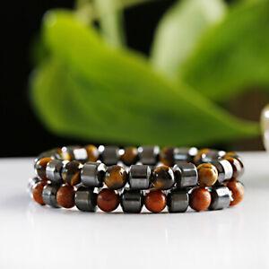 Men's Hematite Tiger Eye Bangle 8MM Wood Yoga Energy Healing Bracelets Xmas Gift