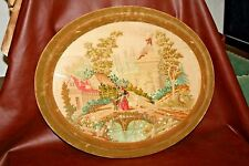 """Antique Oval Velvet Frame 22 x 27"""" Needlepoint Tapestry Woman & Goats at Cottage"""