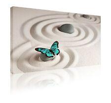"""40 cm X 60 cm 16"""" X 24"""" Verde Azulado Mariposa Zen Cuadro Lienzo Libre P&P"""