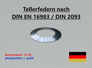 Tellerfedern DIN EN 16983 / DIN 2093 -  ø 12,0 - 23,0 mm - phosphatiert & geölt