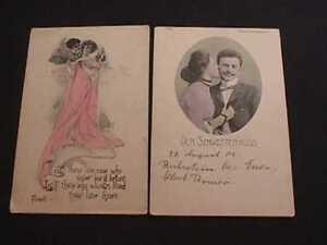 1911 LET THOSE WHO LOVE & DER SCHWESTERKUSS ROMANTIC COUPLE POSTCARDS