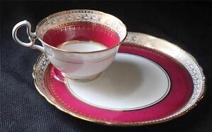 Vintage AYNSLEY Bone China England MAROON Pattern #6692 Set Cup & Sandwich Plate
