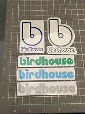 5 Vintage Birdhouse Skateboard Stickers Toy Logo Blue green grey
