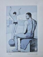 MILO MANARA SALTIMBANCHI di PICASSO Acrobata Bambina sulla Palla acquaforte