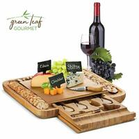 Bamboo Cheese Board with Cutlery Set, Wooden Charcuterie Platter Serving Meat