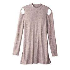 Mock Turtleneck Cold Shoulder Long Sleeve Top - Beige Tan - Size 2X (22W - 24W)