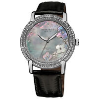 New Women's Akribos XXIV AK580BK Flower Diamond Dial Genuine Leather Strap Watch