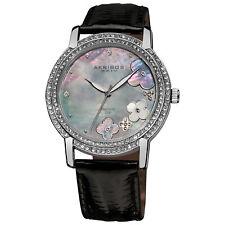 New Women's Akribos XXIV AK580BK Flower Diamond Dial Genuine Leather Strap Watch