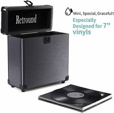 Retround Vintage Vinyl Record Storage, Retro Leather Carrying Case 7Inch B105