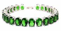 Silver Emerald 68.25ct Chunky Tennis Bracelet (925) Free Gift Box