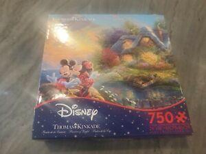 Disney Thomas Kinkade Mickey and Minnie Sweetheart Cove 750 P Puzzle New Ceaco