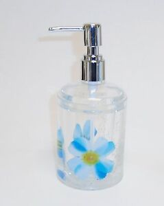 NEW CLEAR ACRYLIC FLOATING,BLUE+YELLOW FLOWER,WHITE BRANCH,SOAP+LOTION DISPENSER