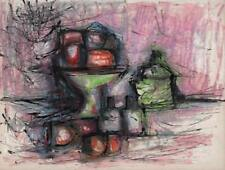 JEANETTE WELTY CHELF Drawing STILL LIFE FRUIT c1960 ABSTRACT IMPRESSIONISM
