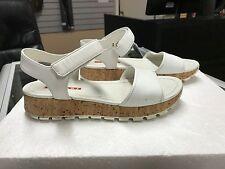 Ladies Prada White Leather Cork Wedge Sandals (Size 36) 3X6019