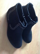 Lovely Ladies Black Ankle Boots, With Studs Size 5 New Shop Clearance