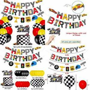 Race Car Birthday Banner & Cake Topper Racing Chequered Flag Hot Wheel Themed Pa