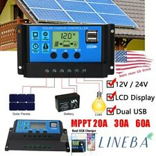 20/30/60A Solar Panel Battery Regulator Charge Controller Dual Usb 12V 24V Usa