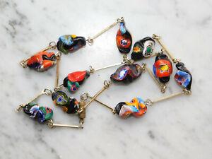 Millefiori - Halskette  organisch geformte Glieder 68 cm Murano