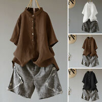Women Cotton Short Sleeve Summer T-Shirt Tops Lapel Vintage Oversize Blouse Plus