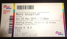 Mark Knopfler Used Concert Ticket - May 2015 Birmingham
