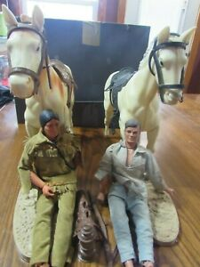 Vintage 1973 Long Ranger and Tonto figures with Horses