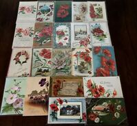 Colorful Lot of 22 POPPIES ANTIQUE~POPPY FLOWERS floral GREETINGS POSTCARDS-h185