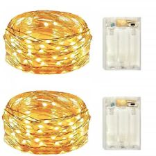 2 Pack Battery Operated 50 Count Mini Fairy Lights with Timer,Warm White Leds