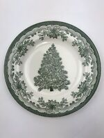 "Staffordshire Engravings Green Yuletide 8"" Salad Plate Christmas Tree Holly"