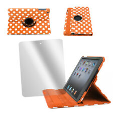 CASE COVER+SCREEN PROTECTOR SWIVEL POUCH FRONT+BACK PU ORANGE DOT IPAD 2 3RD 4TH