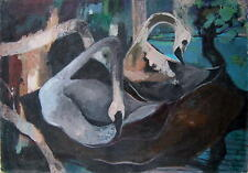 Schwäne im Wasser / Expressionist / großes Gemälde aus der Sammlung Beermann