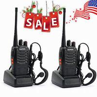 2 Walkie Talkie UHF 400-470MHZ 2-Way Radio 16CH 5W BF-888S Long Range&Earphones