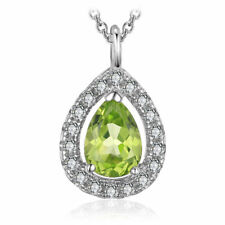 0.8ct Natural Pear Peridot & Cubic Zirconia Solid 925 Silver Necklace