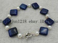White Pearl Bracelet Bangle 7.5'' Aaa 14x14mm Blue Square Egyptian Lapis Lazuli