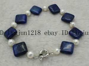 14x14mm Blue Square Egyptian Lapis Lazuli White Pearl Bracelet Bangle 7.5'' AAA