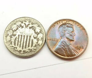 😳 1875 SHIELD NICKEL COIN SMALL AS A PENNY + FREE SHIPPING!