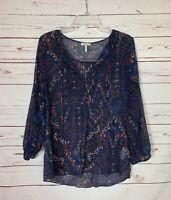 Joie Women's M Medium Blue 100% Silk Long Sleeve Spring Summer Top Blouse Shirt