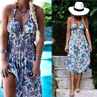 Fashion Womens Summer Chiffon Vintage Boho Mini Maxi Party Beach Floral Dress