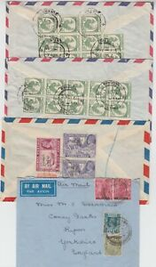 BURMA 1939/61 4x multi franked air mail covers to ENGLAND/SCOTLAND 1) registered