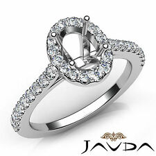 Prong Set Ring 14k White Gold 0.5Ct Oval Diamond Semi Mount Engagement U Shape