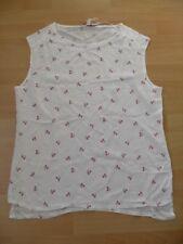 Esprit sehr süße Bluse / Top weiß mit Erdbeeren Muster Gr. 42 / XL * Neu *