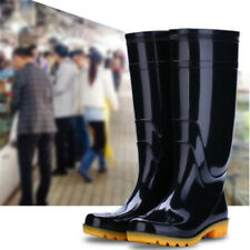 Outdoor Rain Boots Mens Fisherman Knee High Casual Rubber Waterproof Black Shoes