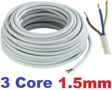 13 AMP 1.5mm 3 Core WHITE Electrical Mains Wire Cable Flexible PVC 3183Y Metre